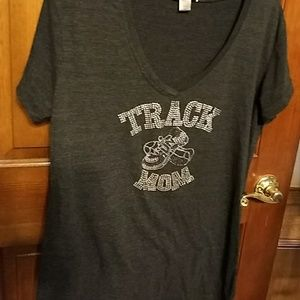 3x bling Track mom V-neck t-shirt by Rosio